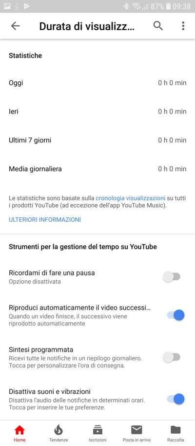 Schermata YouTube