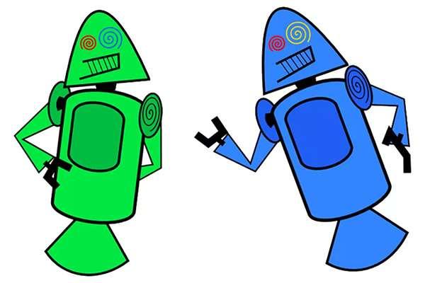 La prima mascotte di Android, Dandroid, disegnata da Dan Morrill
