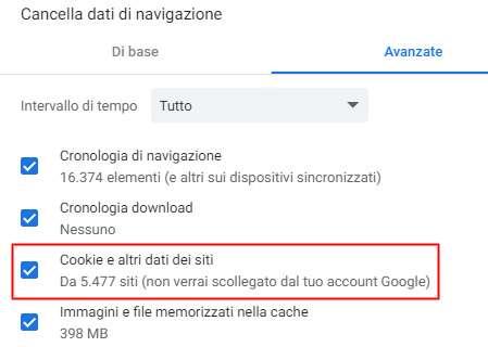 La cancellazione dei cookie salvati da Chrome, al momento, non elimina quelli legati all'account Google