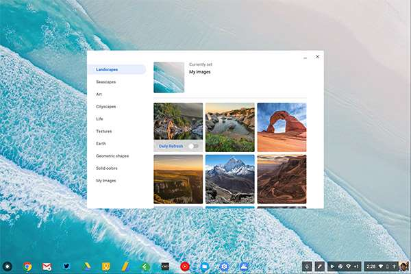 L'interfaccia di Chrome OS 69