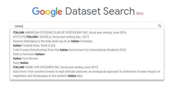 Ricerca su Google Dataset Search