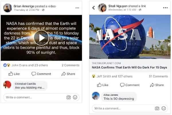 Una falsa notizia diffusa su Facebook relativamente a un annuncio della NASA sull'oscuramento della Terra per diversi giorni