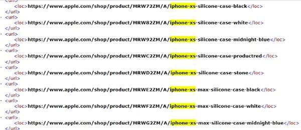 Una porzione del codice tratto dal sito Apple.com che conferma i nomi dei nuovi iPhone