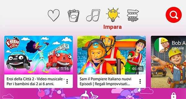 Screenshot per l'applicazione YouTube Kids