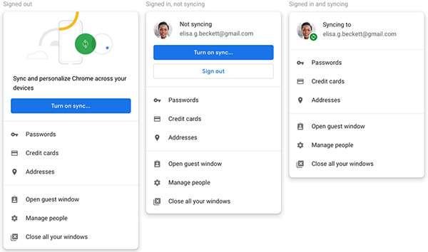 La nuova modalità di visualizzazione dello stato di login su Chrome