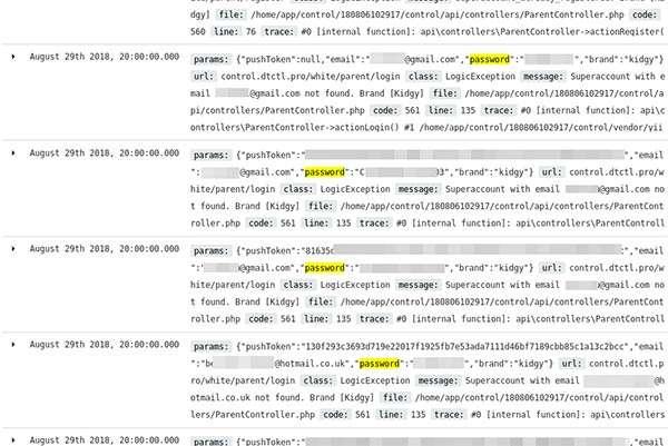 Alcuni dei record contenuti nel database sottratto a mSpy
