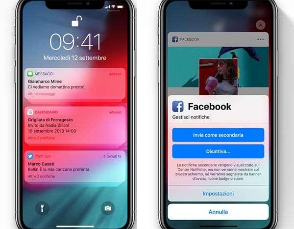 iOS 12: la gestione delle notifiche