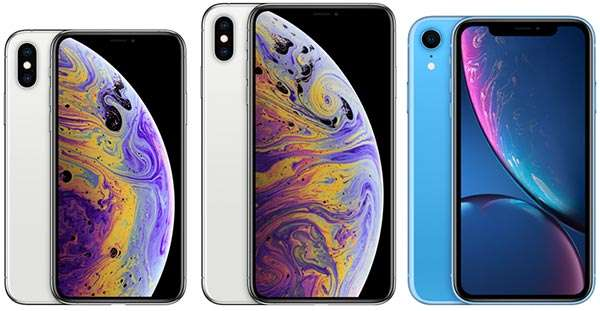 iPhone Xs (a sinistra), iPhone XS Max (al centro) e iPhone Xr (a destra)