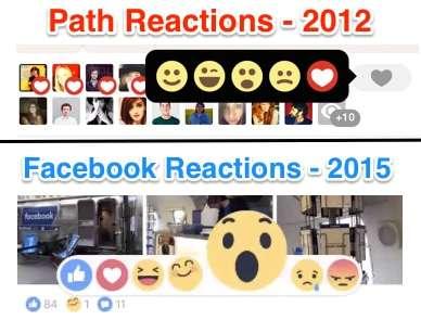 Le reazioni introdotte nel 2016 da Facebook sono visibilmente ispirate a quelle di Path datate 2012