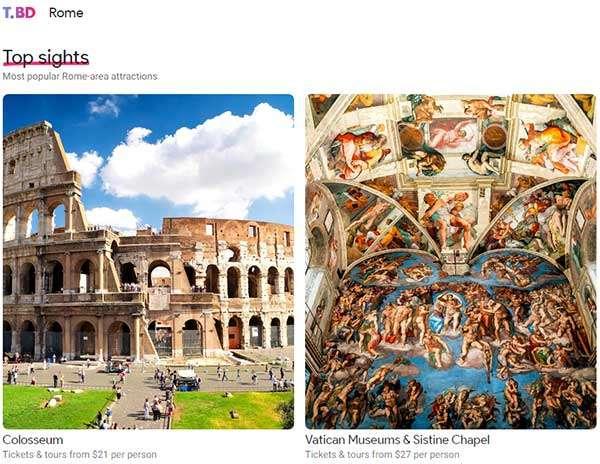 Alcuni dei luoghi di Roma che Touring Bird consiglia di visitare