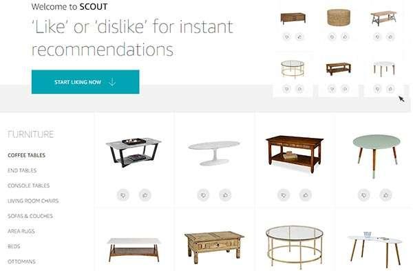 L'interfaccia di Amazon Scout: like e dislike per suggerimenti personalizzati