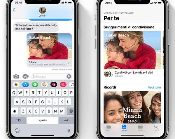iOS 12: nuove opzioni per la condivisione delle foto