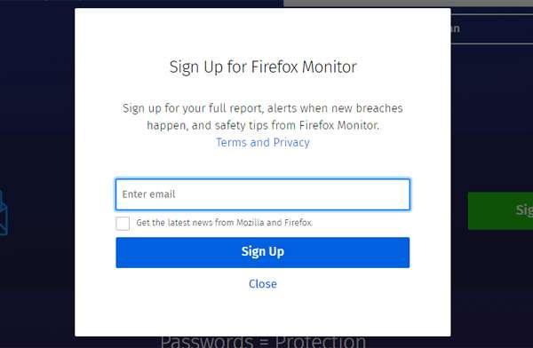 Inserendo il proprio indirizzo email è possibile essere avvisati tempestivamente in caso di compromissione degli account