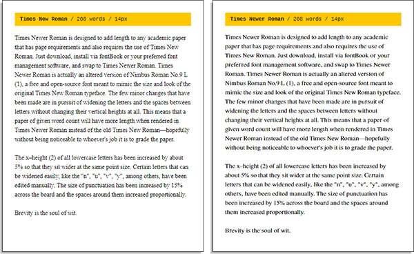 Lo stesso testo scritto con il Times New Roman (a sinistra) e con il Times Newer Roman (a destra)