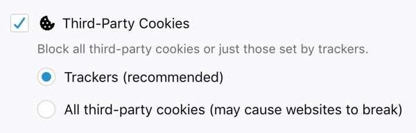 Mozilla Firefox: blocco dei cookies