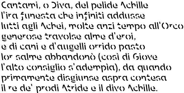 Il proemio dell'Iliade scritto con il font Sans Forgetica