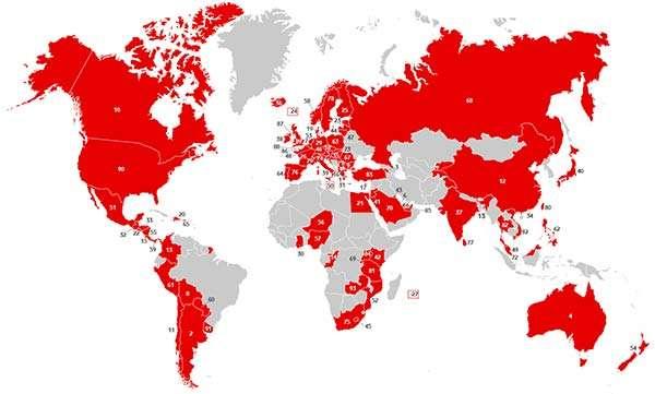 V-Bag TrackiSafe: la mappa dei paesi in cui funziona