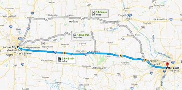 Il percorso in auto più rapido per viaggiare da Kansas City e St Louis