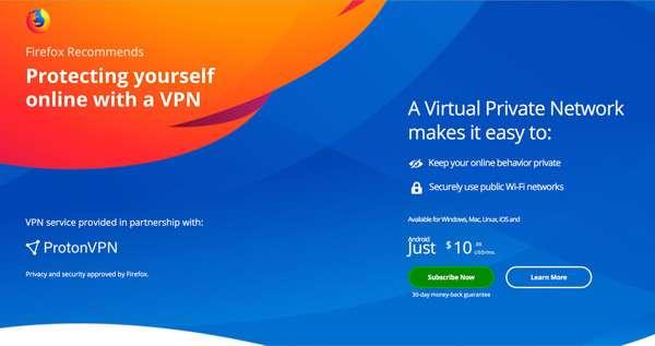ProtonVPN e Firefox
