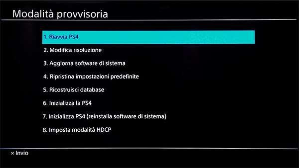 PS4: Modalità Provvisoria