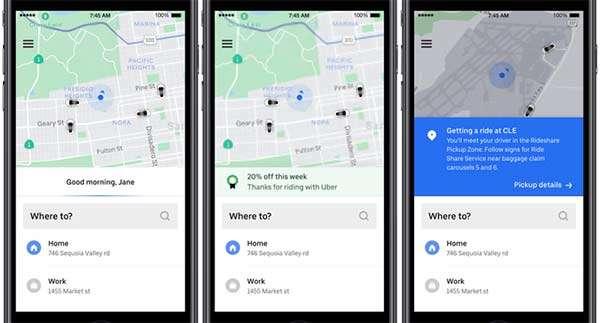 Novità per l'interfaccia di Uber