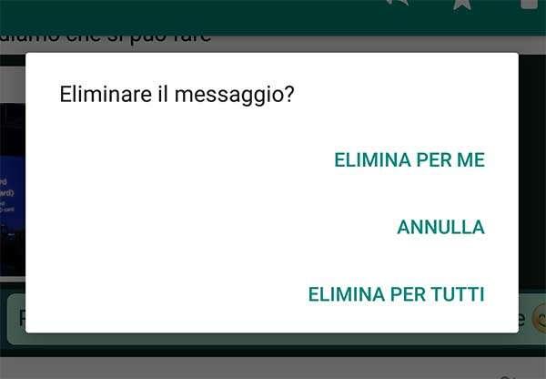 WhatsApp: eliminazione messaggi