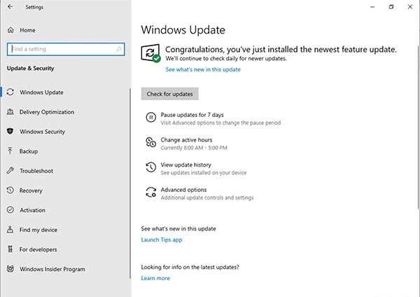 Windows 10 19H1: build 18282