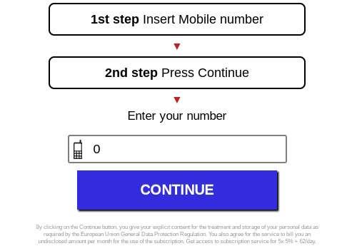 Una pagina che richiede l'inserimento del numero di telefono al fine di addebitare una spesa all'utente
