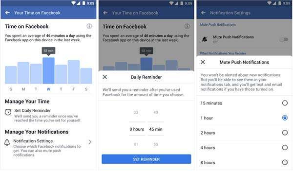 Facebook, dashboard attività