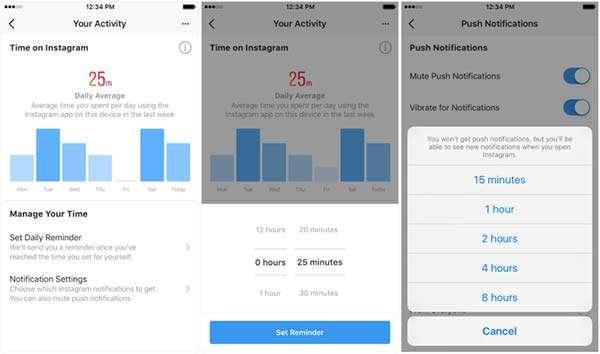 Instagram, dashboard attività