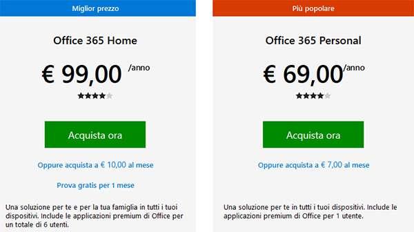 Microsoft Office 365 nelle versioni Home e Professional