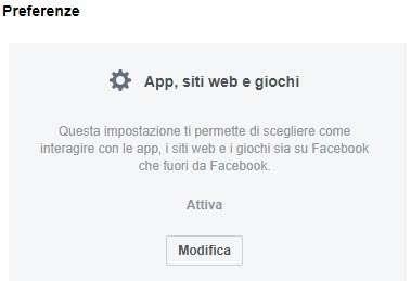 Facebook: impostazioni App, siti Web e giochi