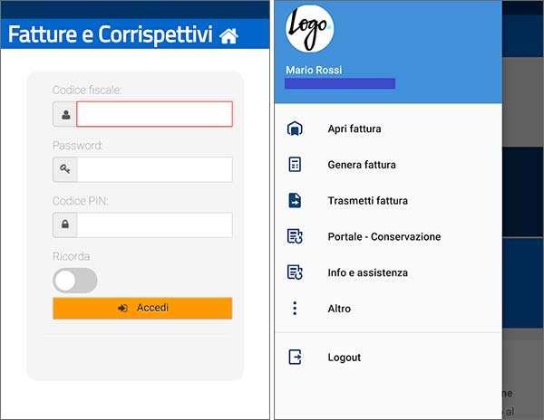 Screenshot per la versione Android dell'applicazione FatturAE