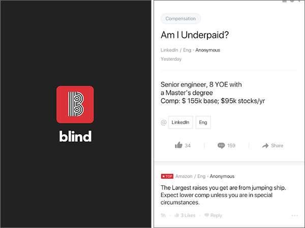 Blind, screenshot dell'applicazione