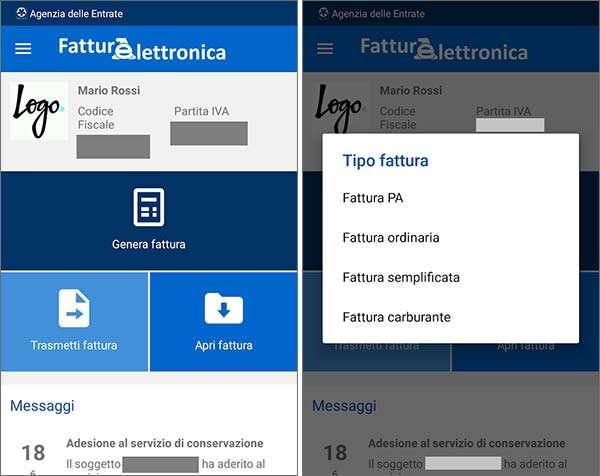 Screenshot per la versione Android dell'applicazione FatturAE per la Fattura Elettronica