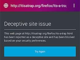 Firefox Focus: avviso per pagine con contenuto potenzialmente pericoloso