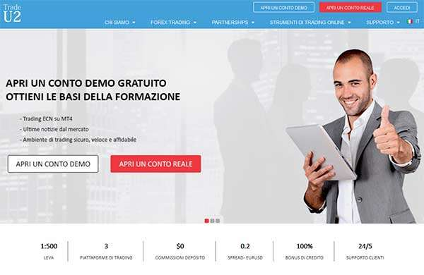 La homepage in italiano del sito Trade U2