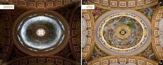 Illuminazione nella Basilica di San Pietro
