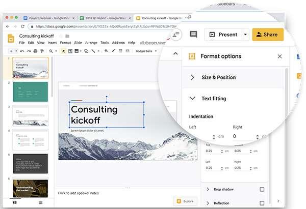 L'interfaccia di Presentazioni Google sul Web dopo il restyling in stile Material Design