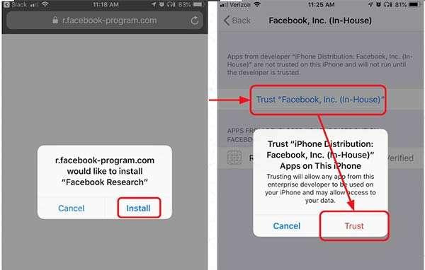 Screenshot per l'app Research di Facebook