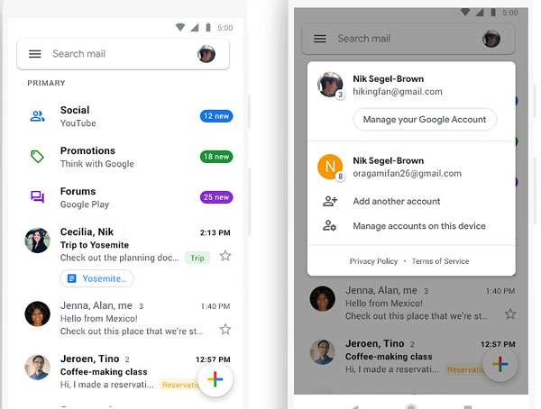 L'app mobile di Gmail in Material Design