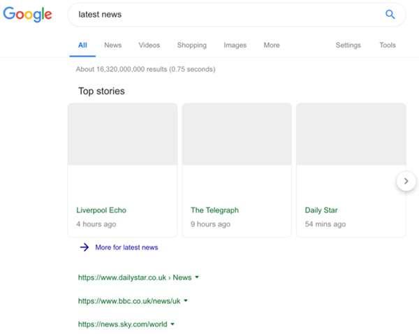 Una SERP completamente bianca dopo la ricerca di notizie su Google News: i possibili effetti della riforma del copyright