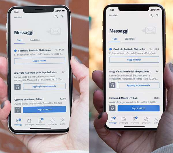 L'applicazione IO: gli screenshot