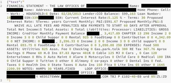 L'estratto di uno dei documenti contenuti nell'archivio sottratto