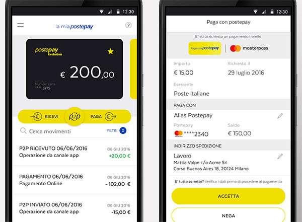 L'applicazione PostePay su smartphone Android