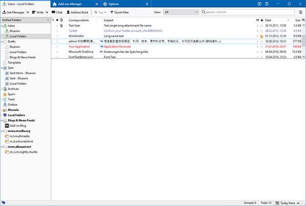 L'interfaccia di Thunderbird 60 su Windows 10