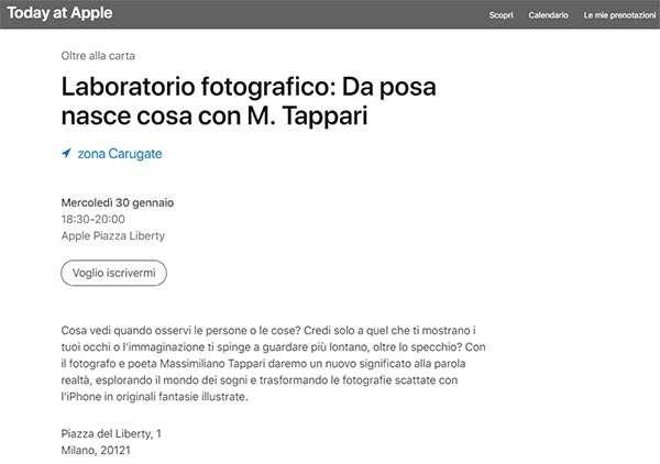 Una delle sessioni Today at Apple in programma in Italia