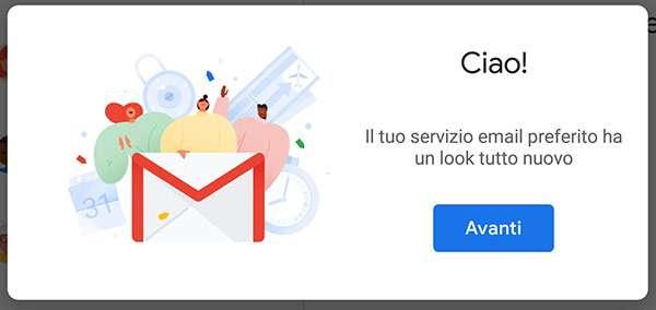 Il messaggio che avvisa della disponibilità della nuova interfaccia dell'app mobile di Gmail
