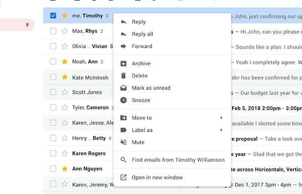 Gmail: nuove opzioni per il menu contestuale che si apre in seguito a un click con il tasto destro