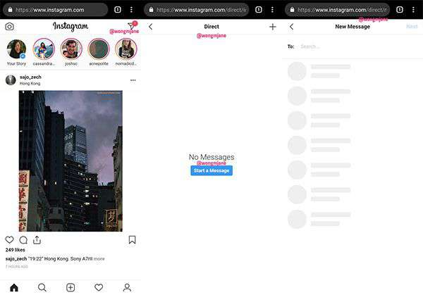 L'interfaccia della messaggistica di Instagram Direct in un browser mobile